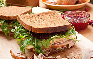 Whole wheat healthy turkey Christmas sandwich